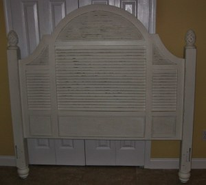 Painted Headboard (note slats and rattan details
